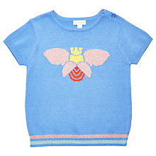 Buy Margherita Kids Girls' Bug Short Sleeve Knitted Jumper, Blue Online at johnlewis.com