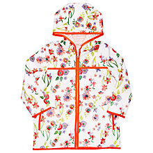 Buy Margherita Kids Girls' Floral Print Raincoat, White/Multi Online at johnlewis.com