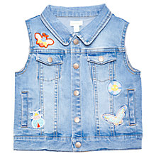 Buy Margherita Kids Girls' Bug Appliqué Sleeveless Denim Jacket, Blue Online at johnlewis.com