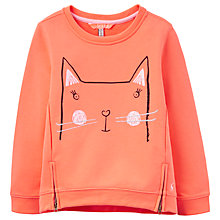 Buy Little Joule Girls' Cassidy Cat Sweatshirt, Orange Online at johnlewis.com