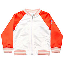 Buy Margherita Kids Girls' Satin Butterfly Bomber Jacket, White/Multi Online at johnlewis.com