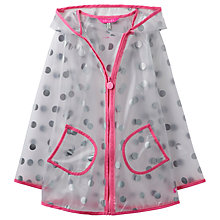 Buy Little Joule Girls' Transparent Waterproof Spot Print Cloudy Mac, Clear Online at johnlewis.com