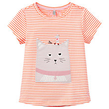 Buy Little Joule Girls' Maggie Striped Cat Appliqué T-Shirt, Orange/Multi Online at johnlewis.com