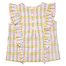 Buy Margherita Kids Girls' Check Seersucker Blouse, White/Multi Online at johnlewis.com