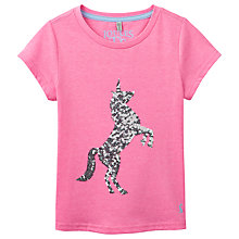 Buy Little Joule Girls' Astra Sequin Unicorn T-Shirt, Pink Online at johnlewis.com