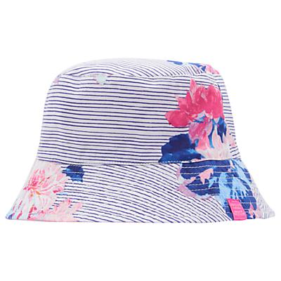 Little Joule Children's Sunseeker Floral Reversible Sun Hat, White/Multi