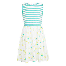 Buy John Lewis Girls' Lemon Dress, Gardenia/Teal Online at johnlewis.com