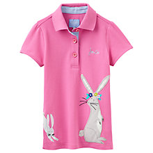 Buy Little Joule Girls' Moxie Hare Polo Shirt, Pink Online at johnlewis.com