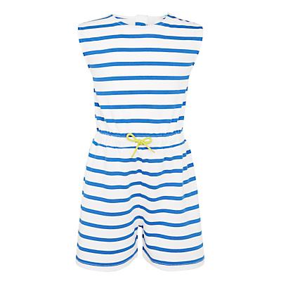 John Lewis Girls' Stripe Jersey Playsuit, Cobalt.