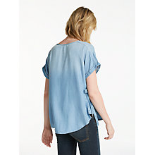 Buy AND/OR Denim Look Tie Detail Short Sleeve Top, Mid Blue Online at johnlewis.com