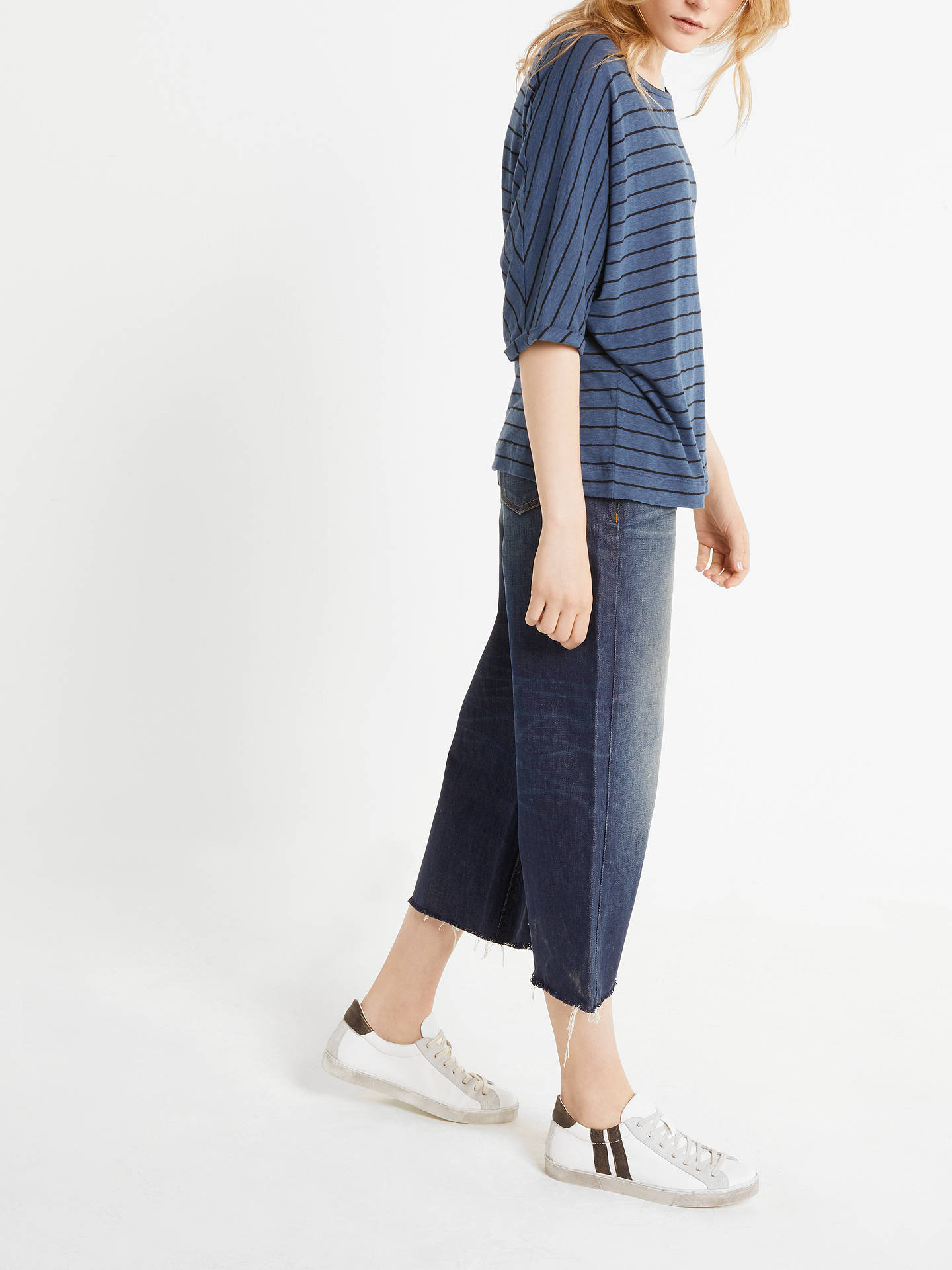 BuyAND/OR Stripe Seam Detail T-Shirt, Blue/Black, 8 Online at johnlewis.com