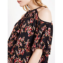 Buy AND/OR Rosie Print Cold Shoulder Top, Black/Red Online at johnlewis.com
