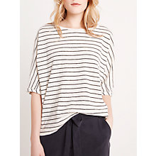 Buy AND/OR Stripe Seam Detail T-Shirt, Cream/Black Online at johnlewis.com
