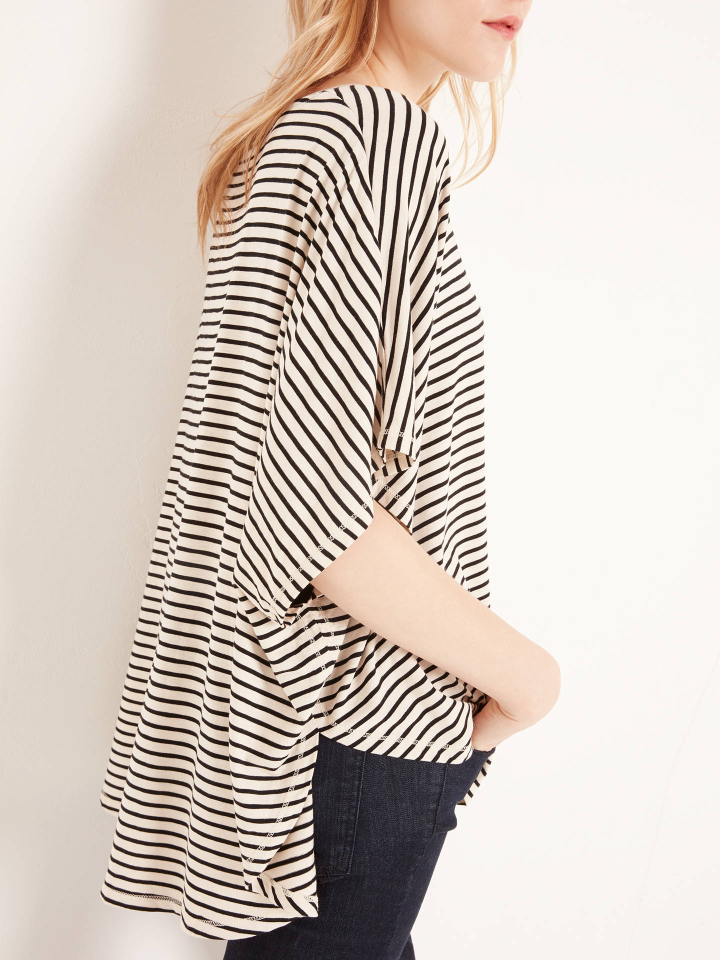 Buy AND/OR Stripe Cape Top, Cream/Black, S Online at johnlewis.com