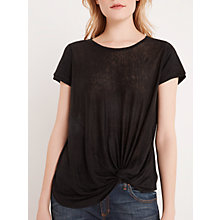 Buy AND/OR Knot Hem Linen Top, Black Online at johnlewis.com