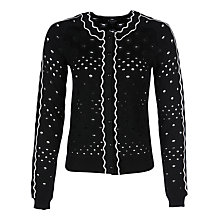 Buy Yanny London Devore Pattern Cardigan, Black Online at johnlewis.com