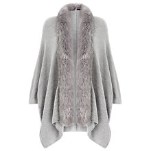 Buy Jacques Vert Faux Fur Trim Cardigan, Mid Grey Online at johnlewis.com