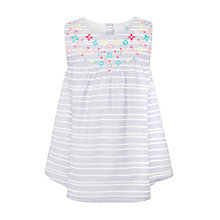 Buy John Lewis Girls' Short Sleeved Embroidered Blouse, Blue Online at johnlewis.com