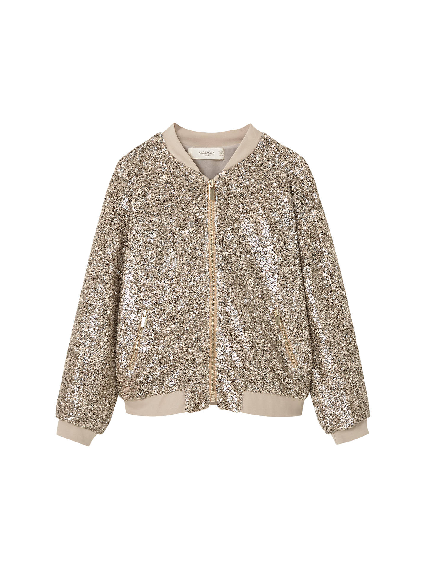 4975a9f08 Buy Mango Kids Girls' Sequin Bomber Jacket, Gold, 4 years Online at  johnlewis ...