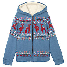Buy Fat Face Girls' Hayling Hooded Zip Through Cardigan, Ocean Blue Online at johnlewis.com