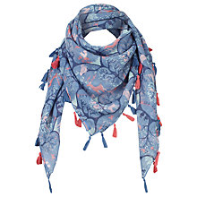 Buy Fat Face Children's Woodland Square Scarf, Ocean Blue Online at johnlewis.com