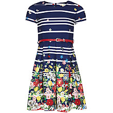Buy Yumi Girl Italian Floral Stripe Dress, Navy Online at johnlewis.com