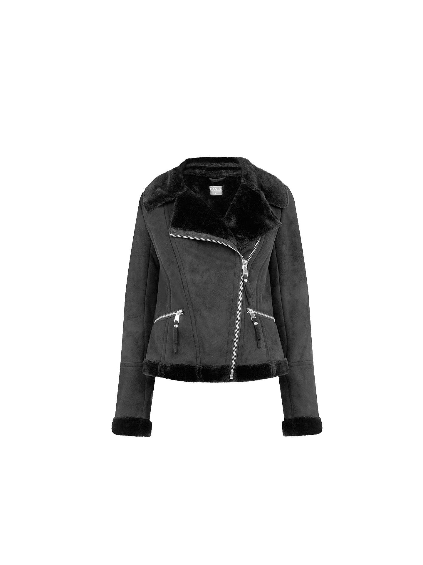 350eae500813 Buy Oasis Faux Shearling Jacket, Black, XS Online at johnlewis.com ...