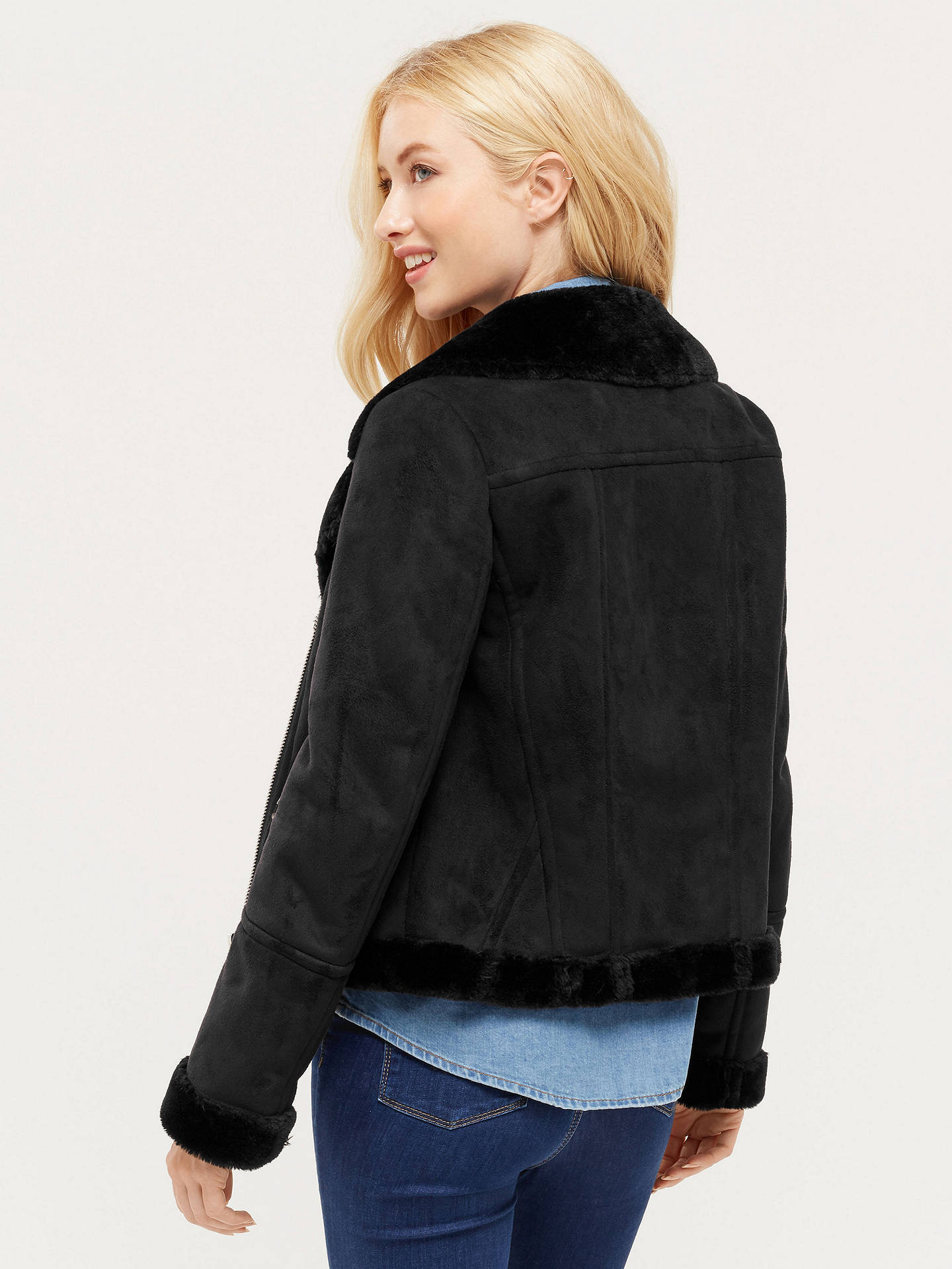 5e841e0fa52a ... Buy Oasis Faux Shearling Jacket, Black, XS Online at johnlewis.com ...