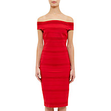 Buy Ted Baker Inan Stripe Texture Bardot Dress, Bright Red Online at johnlewis.com