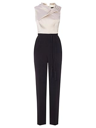 Karen Millen Exaggerated Knot Jumpsuit, Black & Ivory