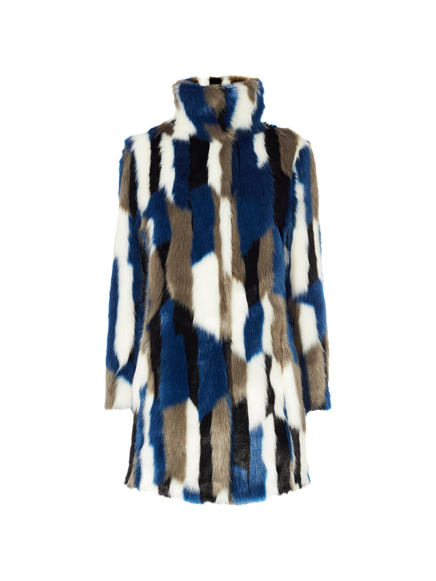 948d9372a33f Buy Karen Millen Patchwork Faux Fur Coat, Blue/Multi, 6 Online at johnlewis  ...