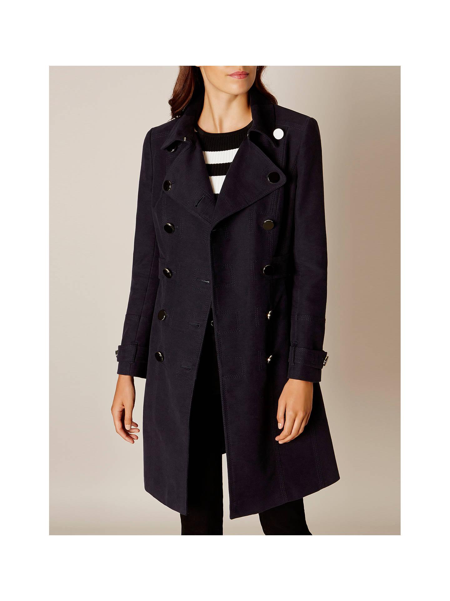 Karen Millen Military Coat, Navy at John Lewis & Partners