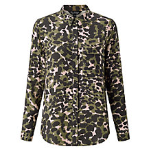 Buy Miss Selfridge Camo Military Print Shirt, Camouflage Green Online at johnlewis.com