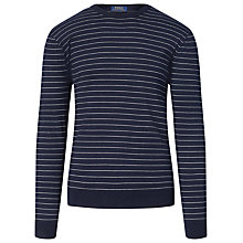 Buy Polo Ralph Lauren Striped Crew Neck Jumper, Navy Online at johnlewis.com