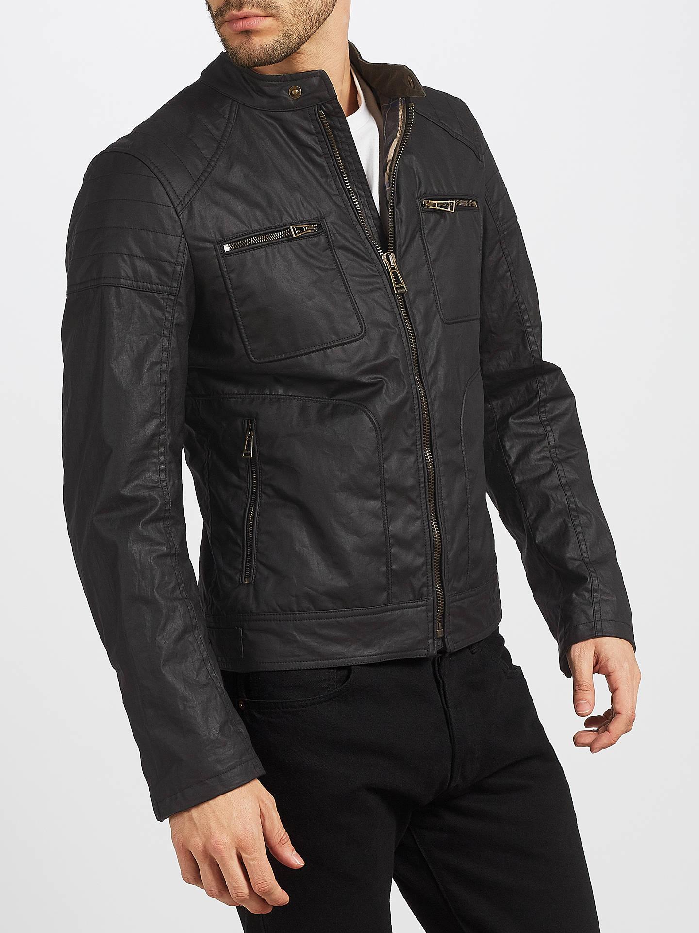 7819dbefdf0 Buy Belstaff Weybridge Rubberized Jersey Jacket, Black, 38R Online at  johnlewis.com ...