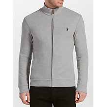 Buy Polo Ralph Lauren Full-Zip Knitted Track Top, Light Grey Heather Online at johnlewis.com
