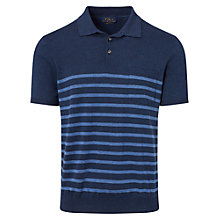 Buy Polo Ralph Lauren Short Sleeve Placket Pim Cotton Polo Shirt, Navy Stripe Online at johnlewis.com