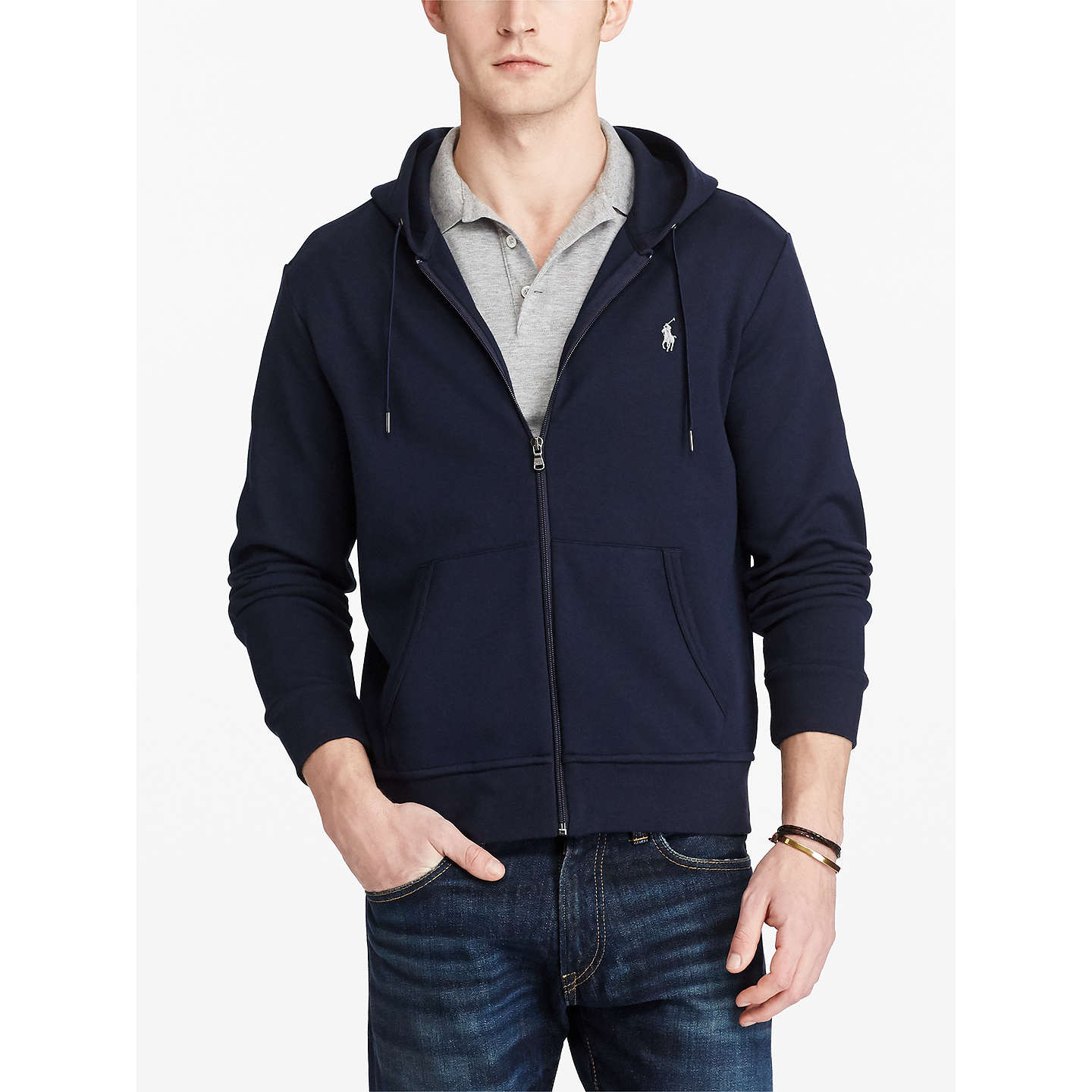 BuyPolo Ralph Lauren LSL-KNT Full Zip Hoodie, Aviator Navy, S Online at ...