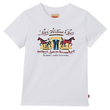 Buy Levi's Boys' Alvaro Horse Print T-Shirt, White Online at johnlewis.com