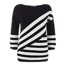Buy Mint Velvet Diagonal Stripe Jumper, Ink/White Online at johnlewis.com