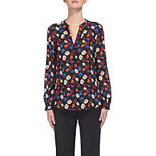 Buy Whistles Pansy Print Silk Blouse, Multi/Black Online at johnlewis.com