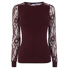 Buy Coast Val Lace Knit Top, Merlot Online at johnlewis.com