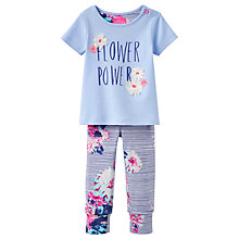 Buy Baby Joule Flower Power Top and Trousers Set, Blue/Pink Online at johnlewis.com