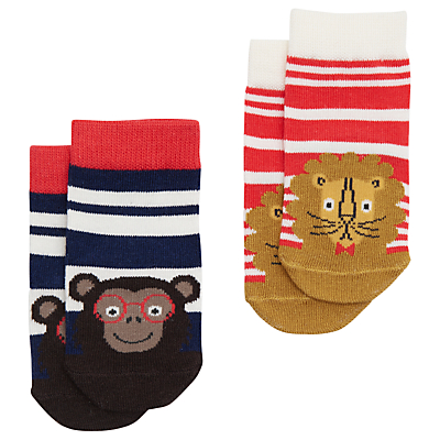 Baby Joule Striped Neat Feet Jungle Socks, Pack of 2, Blue/Red