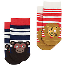 Buy Baby Joule Striped Neat Feet Jungle Socks, Pack of 2, Blue/Red Online at johnlewis.com