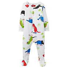Buy Baby Joule Ziggy Dinosaur Print Sleepsuit, White Online at johnlewis.com
