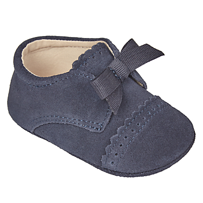 John Lewis Heirloom Collection Baby Scalloped Laced Pram Shoes, Navy