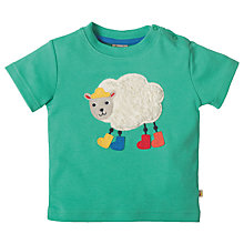 Buy Frugi Organic Baby Little Creature Sheep Applique T-Shirt, Green Online at johnlewis.com