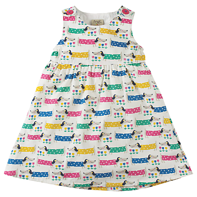 Product photo of Frugi organic baby sausage dog print little party dress multi