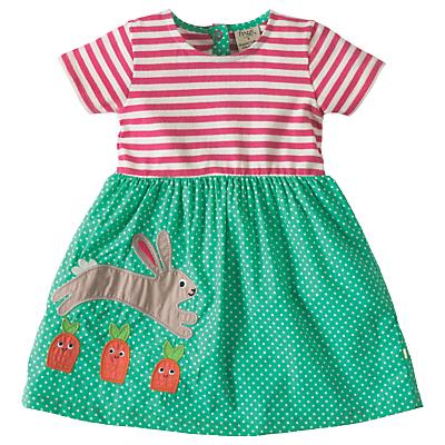 Product photo of Frugi organic baby little zennor rabbit applique dress green multi
